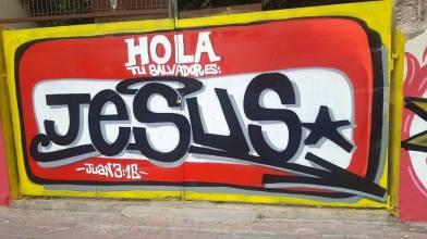 DOLAR ONE - HOLA TU SALVADOR ES JESUS GRAFFITI EN ALICANTE