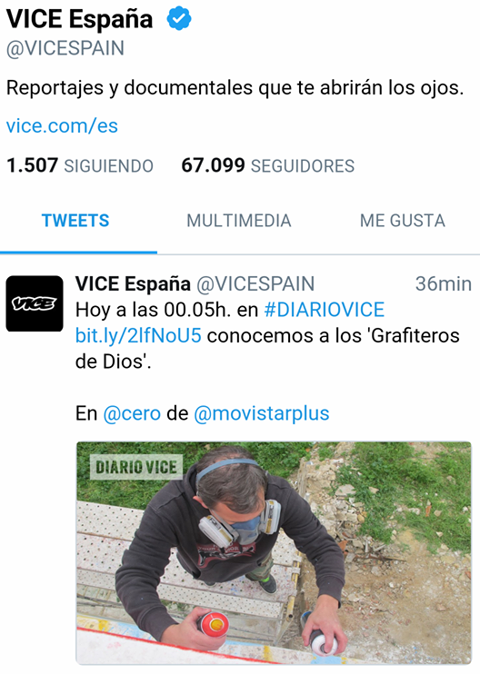 Diario Vice España Dolar One Grafitero de Dios Canal 0 Movistar + plus