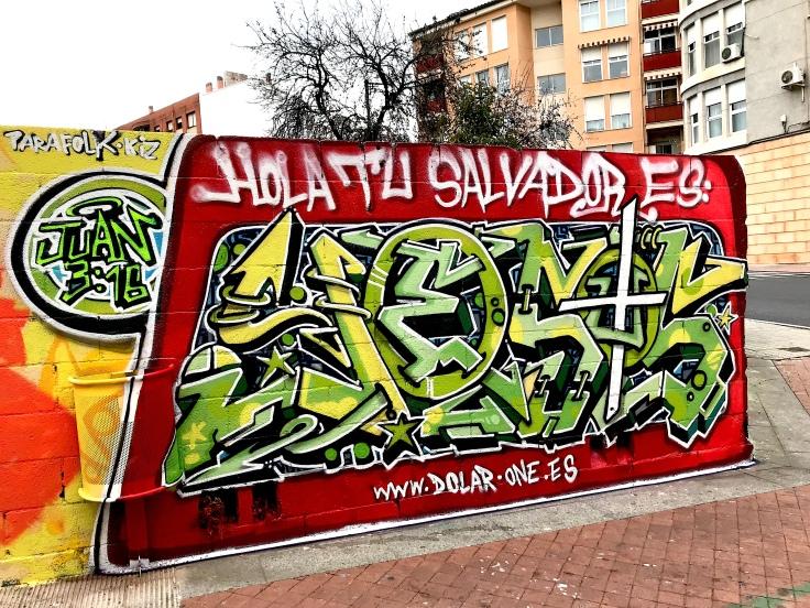 2018 GRAFFITI DOLAR ONE SPAIN STREET ART CHRISTIAN ART JESUS GOD HOLA TU SALVADOR ES JESUS ALICANTE ALCOY SPAIN JOHN 316