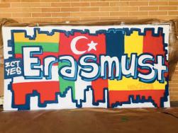 GRAFFITI EN IES PLAYA SAN JUAN POR DOLAR ONE ERASMUS+