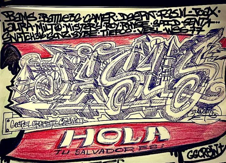 boceto sckech Dolar One Gospel Graffiti Crew hola tu salvador es Jesus