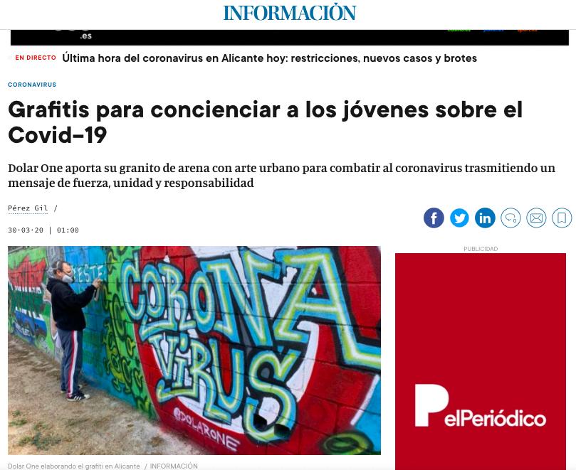 DOLAR ONE DIARIO INFORMACIÓN COVID CORONA VIRUS GRAFFITI SENSIBILIZAR 0