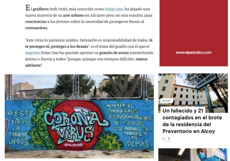 DOLAR ONE DIARIO INFORMACIÓN COVID CORONA VIRUS GRAFFITI SENSIBILIZAR 1