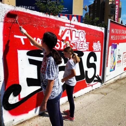 En las calles de Split en una actividad de jóvenes