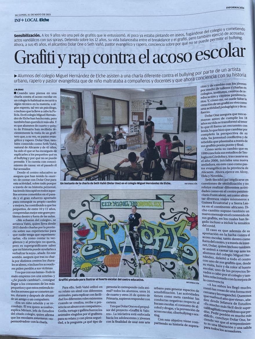 0 EL HUERTO GRAFFITI DIARIO INFORMACION ALICANTE GRAFF COLEGIO MIGUIEL HERANDEZ DE ELCHE L´HORT ELX GRAFFITI BARRIO PALMERALES